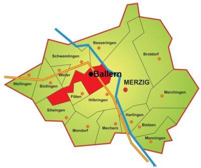 Georafische Karte vom Stadtteil Ballern