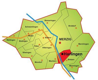 Karte Stadtteil Harlingen