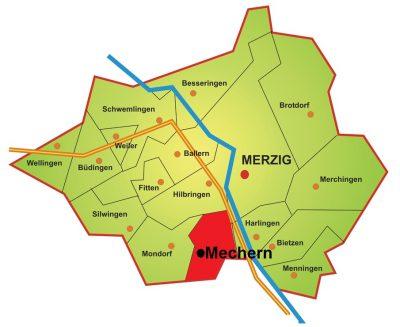 Karte Stadtteil Mechern
