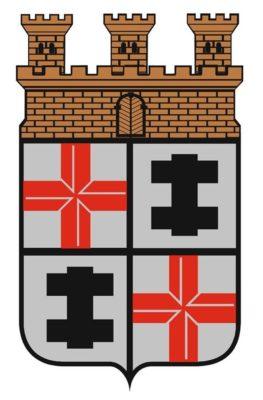 Die Grafik zeigt das Merziger Wappen, das auf vier gleichgroßen Feldern besteht. In den Feldern findet sich jeweils zweimal das rote kurtrierische, als auch das schwarze lothringische Doppelkreuz. Oberhalb dieser Felder schließt das Wappen mit einer Mauerkrone ab.